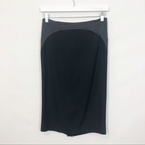 REISS Black Satin Pencil Skirt Exposed Zipper 4